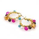 Nihaojewelry bohemian crystal pearl hoop earrings wholesale jewelry NHYUX374612