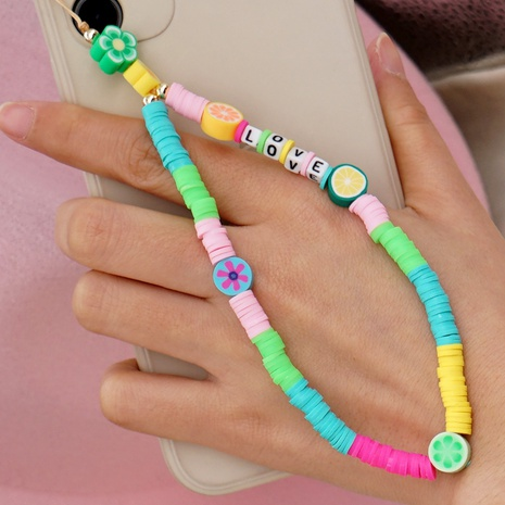 Nihaojewelry bohemian style letter fruit color matching mobile phone lanyard jewelry wholesale NHYUX374616's discount tags