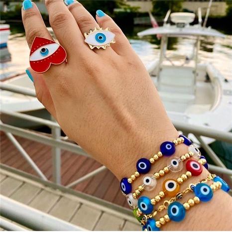 Nihaojewelry estilo étnico esmalte de color mal de ojo pulsera de cuentas de oro joyería al por mayor NHYUX374620's discount tags