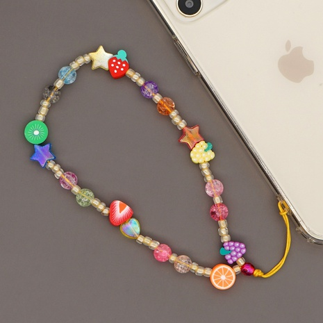 Nihaojewelry bohemian jewelry letter fruit flower mobile phone lanyard wholesale NHYUX374633's discount tags