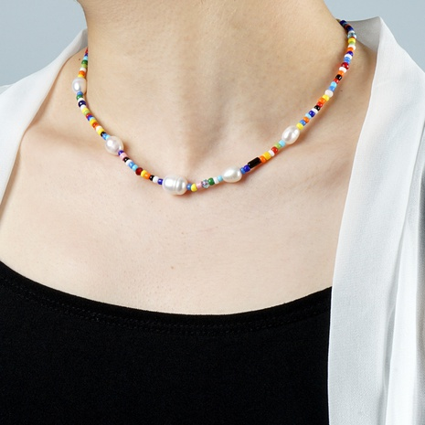 wholesale jewelry Simple Freshwater Pearl Rainbow Bead Necklace nihaojewelry NHGW374667's discount tags