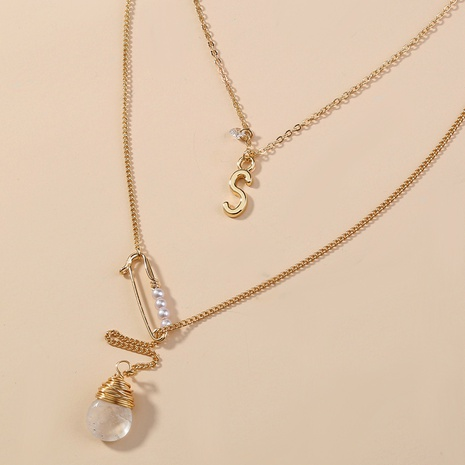 Großhandel Schmuck Mode transparent Naturstein Perlenstift mehrschichtige Halskette nihaojewelry NHAN374739's discount tags