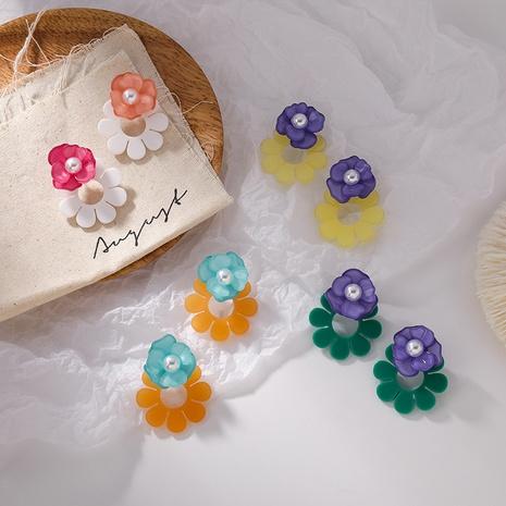 Großhandel Schmuck Kontrastfarbe Acryl Blumenohrringe Nihaojewelry NHMS374745's discount tags