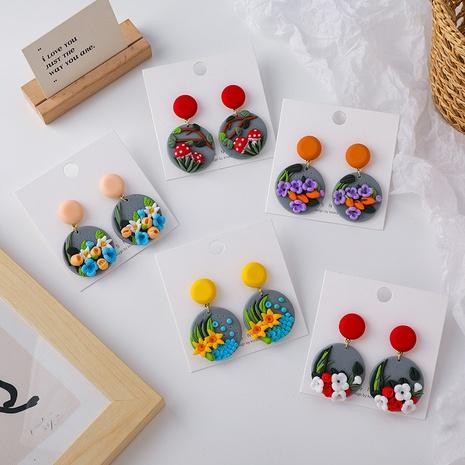 Großhandel Schmuck Farbe Blume weiche Keramik Ohrringe Nihaojewelry NHMS374751's discount tags