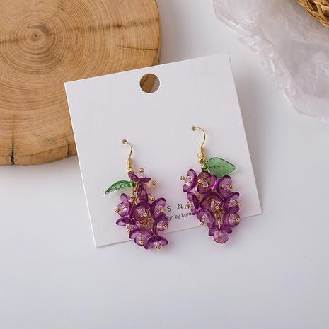 Großhandel Schmuck lila Traube Perlen Harz Ohrhaken Nihaojewelry NHMS374752's discount tags