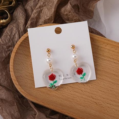 Großhandel Schmuck Rosen Herz Acryl Perlenohrringe Nihaojewelry NHMS374766's discount tags