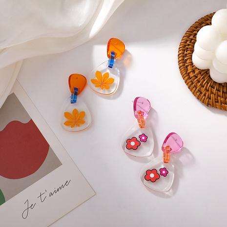 wholesale jewelry color flower resin acrylic earrings Nihaojewelry NHMS374771's discount tags