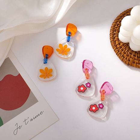 Großhandel Schmuck Farbe Blume Harz Acryl Ohrringe Nihaojewelry NHMS374771's discount tags