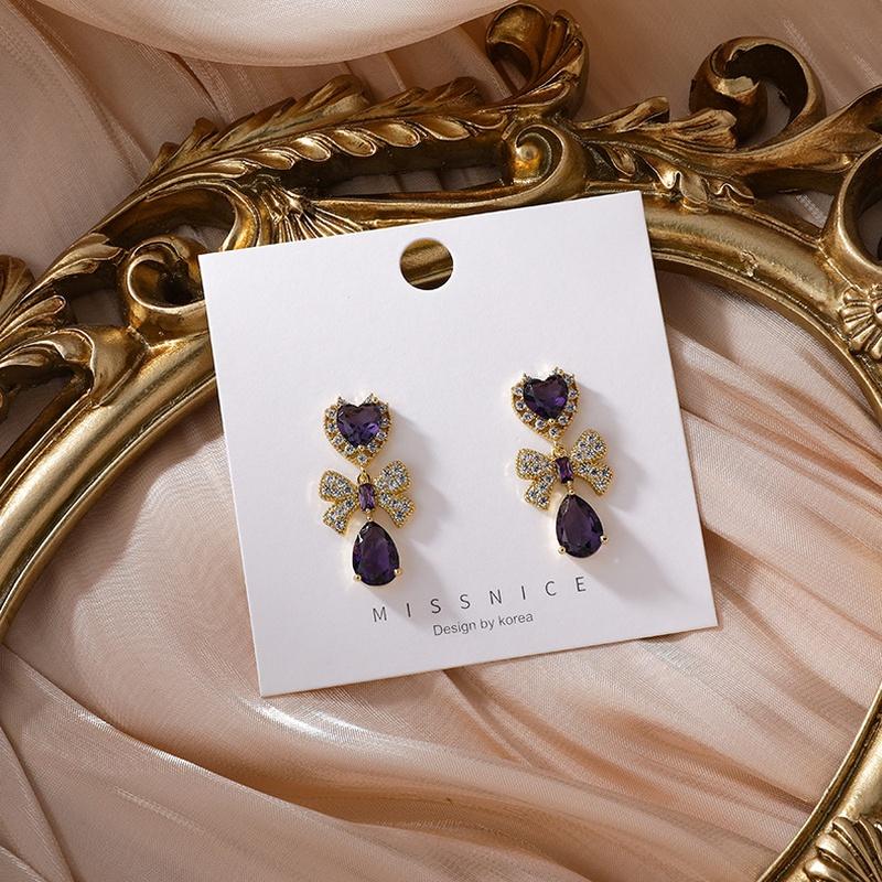 wholesale jewelry amethyst bow copper earrings Nihaojewelry NHMS374785