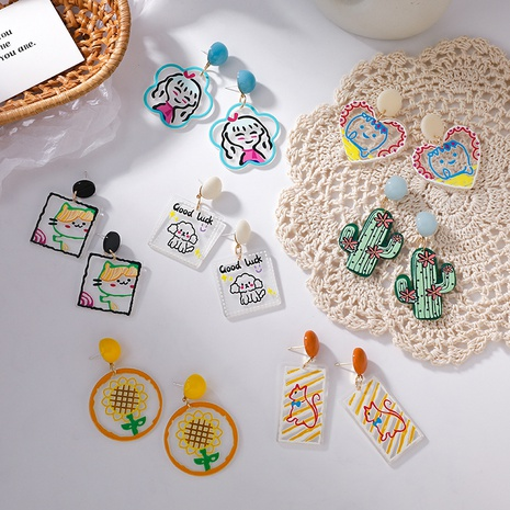 Großhandel Schmuckfarbe Acryl Tierform Ohrringe Nihaojewelry NHMS374786's discount tags