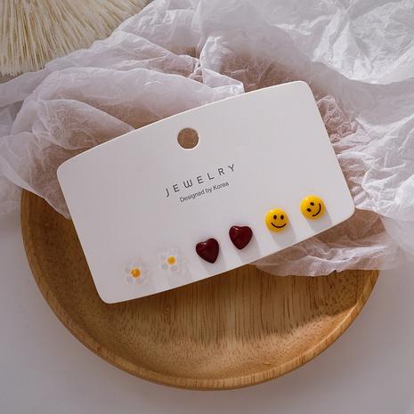 Großhandel Schmuck Blume Herz Harz 6-teilige Ohrringe Nihaojewelry NHMS374790's discount tags