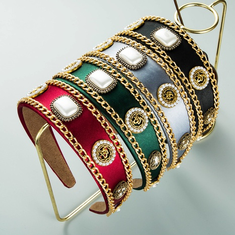 Diadema de cadena de diamantes de imitación de perlas eométricas al por mayor de joyería de Nihaojewelry NHLN374946's discount tags