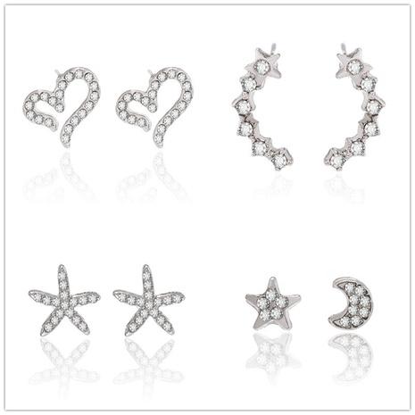 Nihaojewelry Koreanische Diamant geometrische hohle Herz Seestern Ohrringe Großhandel Schmuck NHGQ374807's discount tags
