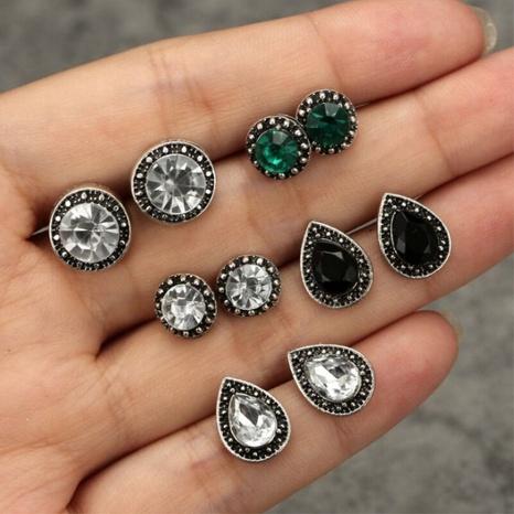 Nihaojewelry Retro-Stil Edelstein Kristall runde Wassertropfen Ohrringe 5 Paar Set NHGQ374811's discount tags