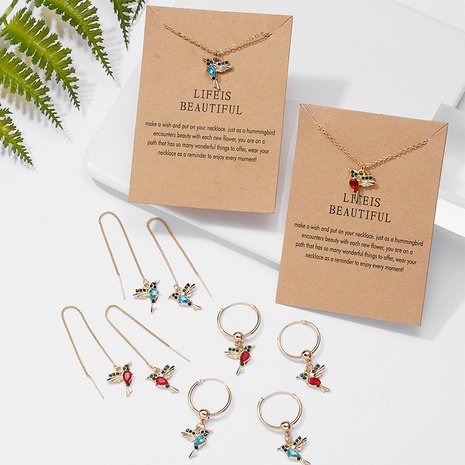 Großhandel rote und blaue Kolibri Ohrringe Nihaojewelry Vogel Tier Anhänger Halskette NHQC374953's discount tags