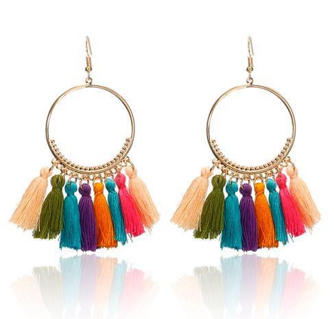 wholesale jewelry big circle fan-shaped tassel earrings Nihaojewelry NHGQ374940's discount tags