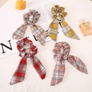 Nihaojewelry retro color matching checkered bow head scrunchies wholesale jewelry NHCL375124