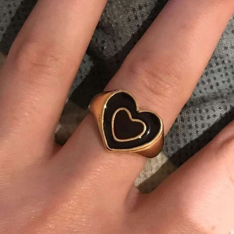 wholesale jewelry retro double-layer heart dripping oil ring nihaojewelry NHPJ375128's discount tags