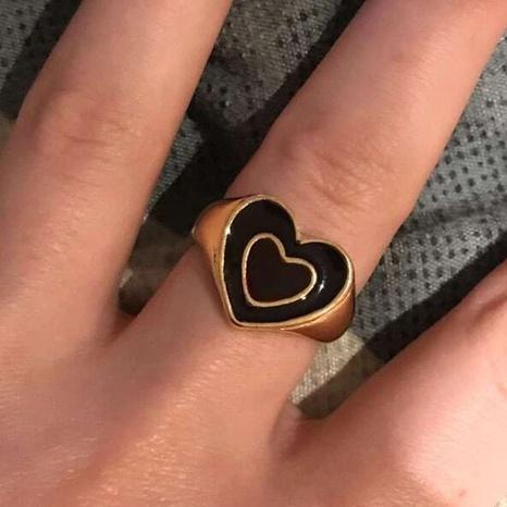 Al por mayor joyería retro de doble capa corazón goteando anillo de aceite nihaojewelry NHPJ375128's discount tags