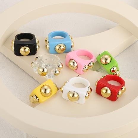 Vente en gros bijoux mode couleur bonbon bague acrylique en métal nihaojewelry NHPJ375129's discount tags