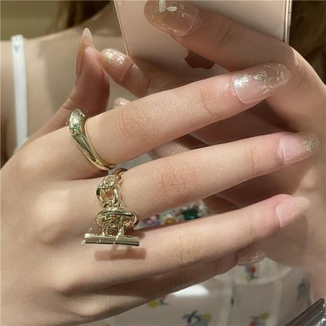 wholesale jewelry retro diamond OT buckle ring Nihaojewelry NHYQ375213's discount tags