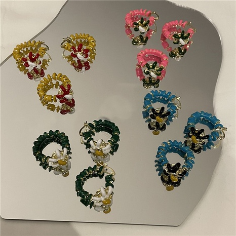 wholesale jewelry retro color drip glaze flower ring earrings set Nihaojewelry NHYQ375227's discount tags