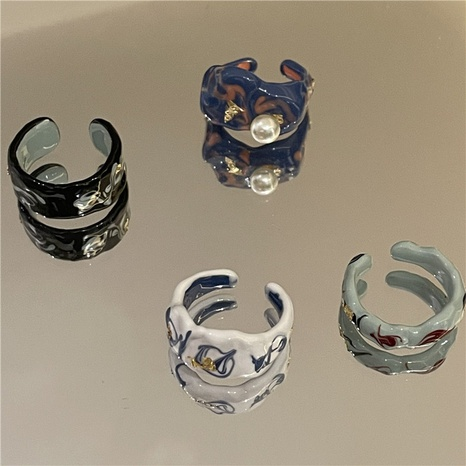 wholesale jewelry colorful foil sealing glaze dripping ring Nihaojewelry NHYQ375232's discount tags