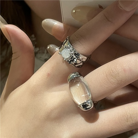 wholesale jewelry oval transparent stone open ring Nihaojewelry   NHYQ375241's discount tags