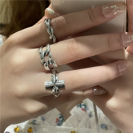 wholesale jewelry simple cross winding opening ring Nihaojewelry NHYQ375250's discount tags