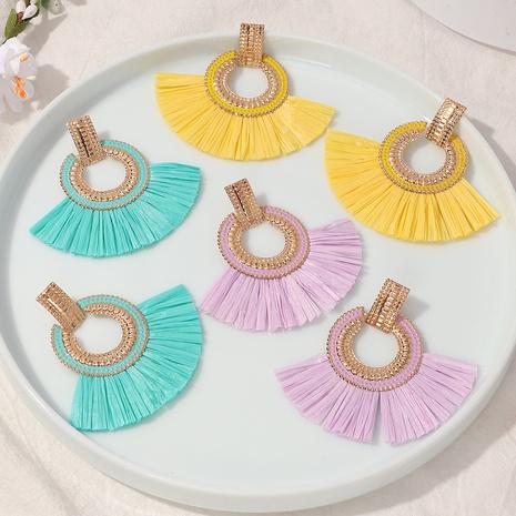 Großhandel Schmuck böhmischen ethnischen fächerförmigen Bast Fransen Ohrringe nihaojewelry NHNZ375259's discount tags