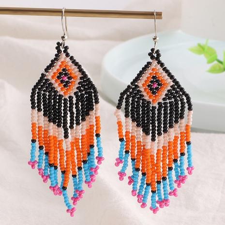 Wholesale Jewelry Bohemian Retro Braided Rhombus Beads Tassel Earrings Nihaojewelry NHNZ375261's discount tags