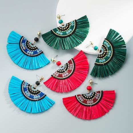 wholesale jewelry bohemian fabric inlaid pearl fan-shaped tassel earrings nihaojewelry NHLN375266's discount tags
