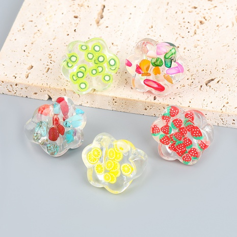 wholesale jewelry simple fruit pattern transparent resin ring nihaojewelry NHJE375289's discount tags
