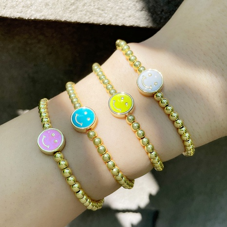 Nihaojewelry Korean style smiley face beaded gold-plated bracelet Wholesale jewelry NHAS375340's discount tags