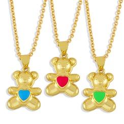 Nihaojewelry dripping oil heart shape bear necklace Wholesale jewelry NHAS375351