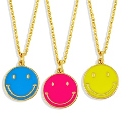 Nihaojewelry cute color dripping oil round brand smiley face necklace Wholesale jewelry NHAS375353