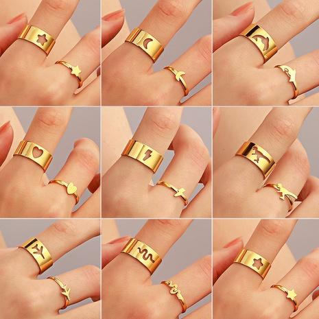 Großhandel Schmuck Retro Schmetterling Sternform offener Ring 2 Sätze nihaojewelry NHDP375370's discount tags