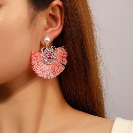 Nihaojewelry bohemian bear head pearl fan-shaped tassel earrings Wholesale jewelry NHDP375375's discount tags