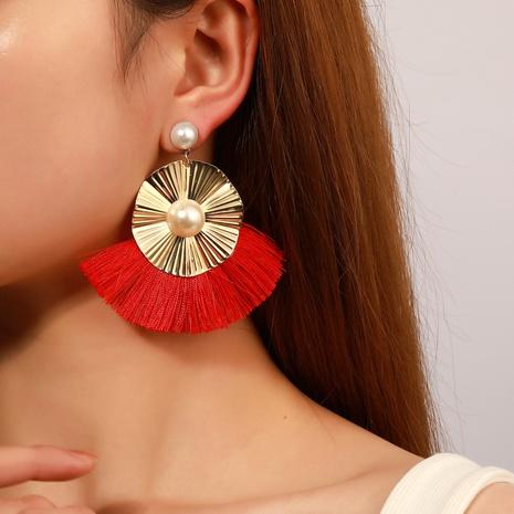 wholesale jewelry bohemian fan-shaped irregular tassel earrings nihaojewelry NHDP375378's discount tags
