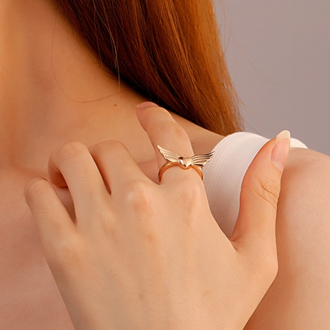 wholesale jewelry retro angel wings heart-shape copper open ring nihaojewelry NHDP375380's discount tags