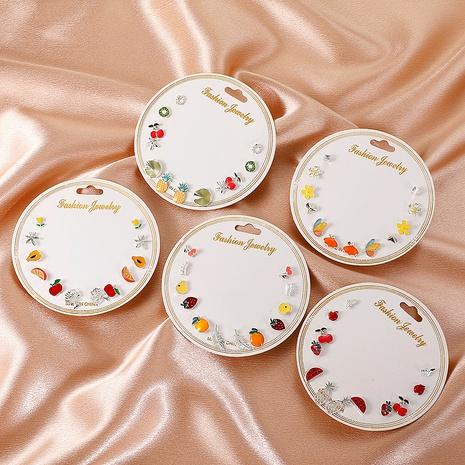 Nihaojewelry Korean style fruit geometric dripping oil earrings 6-piece set Wholesale jewelry NHDP375388's discount tags