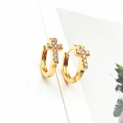 wholesale jewelry fashion cross copper inlaid zircon earrings nihaojewelry NHPY375438's discount tags