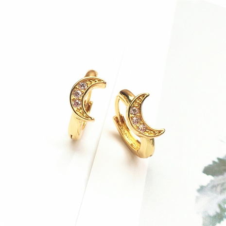 wholesale jewelry fashion moon copper inlaid zircon earrings nihaojewelry NHPY375439's discount tags