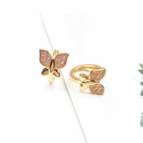 wholesale jewelry simple butterfly shape copper micro-inlaid zircon earrings nihaojewelry NHPY375440's discount tags