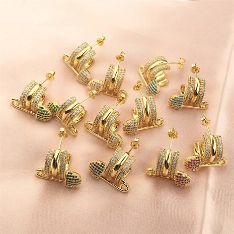 wholesale jewelry retro geometric paper clip copper inlaid zircon earrings nihaojewelry NHPY375442's discount tags