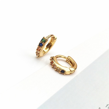wholesale jewelry simple geometric inlaid diamood copper gold-plated earrings nihaojewelry NHPY375443's discount tags