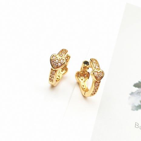 Al por mayor joyas corazón simple pendientes de circonita con incrustaciones de cobre nihaojewelry NHPY375444's discount tags