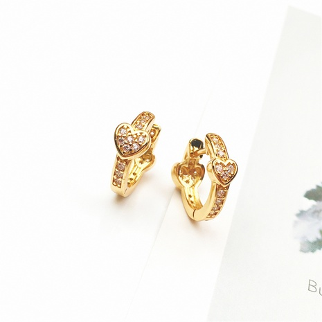 wholesale jewelry simple heart copper inlaid zircon earrings nihaojewelry NHPY375444's discount tags