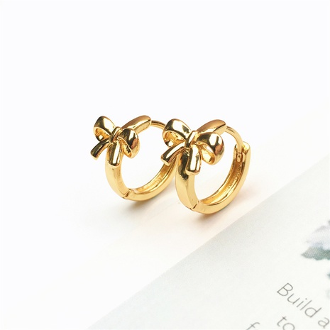 wholesale jewelry simple gold-plated bow copper earrings nihaojewelry NHPY375446's discount tags