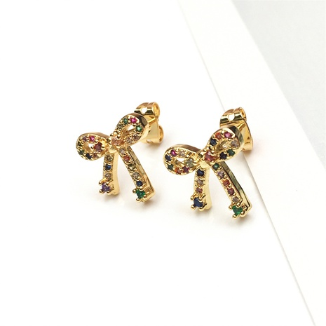 wholesale jewelry fashion bow shape copper micro-inlaid zircon earrings nihaojewelry NHPY375447's discount tags